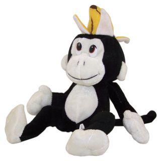 Value Plush Black Monkey with Banana Hat 10 inch Stuffed Animal