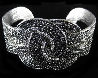Crystal Metal Art Bangle Cuff Bracelet Costume Jewelry 1 25W