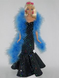 Barbie Doll Sweetheart Dress Handmade Black Gown with Blue Iridescent