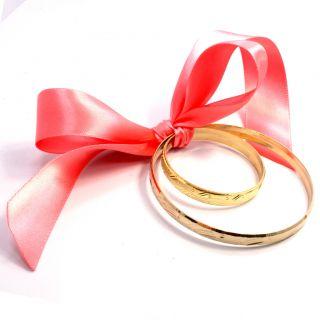 Set Gold 18k GF Bangle Bracelet Birth Gift Baby Girl Mom Together