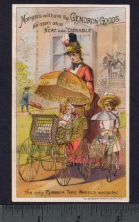 1800s Baby Carriage Gendron Rubber Wheel Doll Victorian Advertising