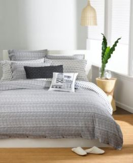 AT HOME Bar III TEXTURED STRIPE FULL / QUEEN Duvet Cover Gray