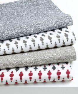Bar III Garment Wash Taupe 200T Ikat Red Twin Sheet Set New