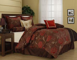 Iris Brown Red 7 Piece Comforter Set Bed in Bag Brand New King Queen