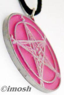 Necklace Pink Sigil of Baphomet Pendant Girly Amulet
