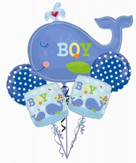Ahoy Baby Balloon Bouquet Its A Boy Whale Balloon Ocean Preppy Baby