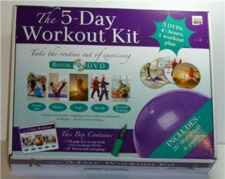 The 5 Day Workout Kit Exercise Set with Book DVD Fitness Ball