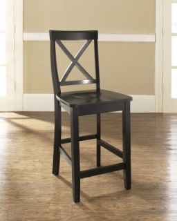 Crosley Furniture x Back Bar Stool in Black Finish with 24 inch Seat