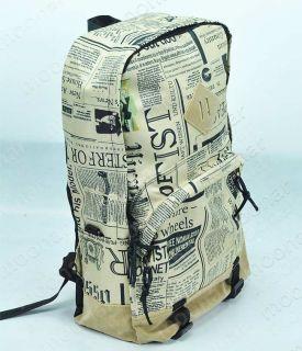 Men Women Newspaper Backpack Canvas Gym Shoulder Bags Handbag Duffle