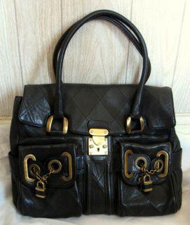 Barbara Bui Black Diamond Stitch Thick Leather Satchel Bag Bronze