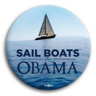 Barack Obama Official Political Button Pin Sail Boats