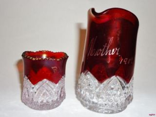 Vintage Ruby Stain Flash Glass Mini Pitcher Creamer Mother