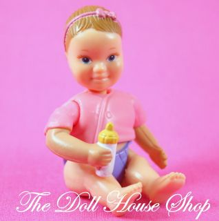 Pink Purple Baby Girl Doll Fisher Price Loving Family Dollhouse People