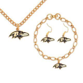 Baltimore Ravens Womens Fashion V Neck T Shirt Jewelry Gift Set