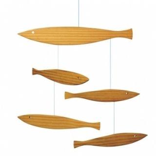 Flensted Floating Fish Wood Modern Hanging Baby Mobile