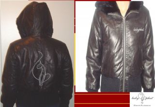 BABY PHAT Soft LEATHER Reversible BLACK Coat Jacket Bomber Winter Sz