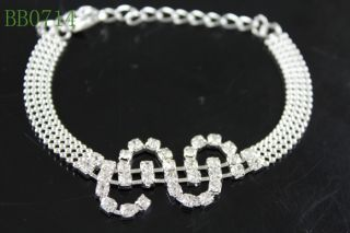 Fashion Czech Crystal Bridal Wedding Elegant Cuff Bangle Bracelet