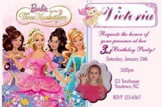 Barbie Thethree Musketeers Custom Birthday Invitation