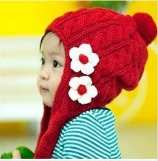 Red Cap Ear Flap Hat Beanie Winter Baby Kid Ski Scarf