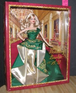 New Mattel Christmas Holiday Barbie 2011 Green Gold Dress Collector