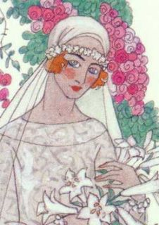 George Barbier 4 Art Deco Wedding Greeting Cards Bride