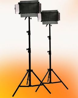 Two 500 LED Dimmable Video Light Panel Light Stand Kit