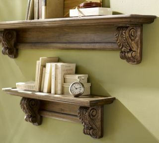 Pottery Barn Architectural Bracket Wood Shelf Mantel 5Long Mahogany
