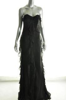 Badgley Mischka Platinum Label $995 Black Silk Chiffon Ruffle Gown