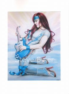 Greeting Card 5x7 Handmade Rock and Roll Pinup Girl Bright Blue Guitar