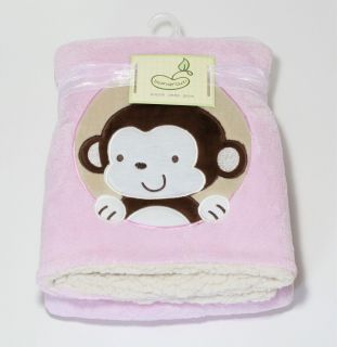 New Beansprout Pink Plush Sherpa Monkey Baby Blanket