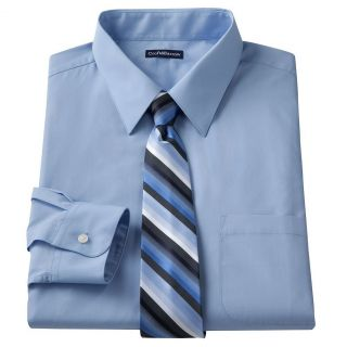 New Croft Barrow Mens Light Blue Dress Shirt Hand Crafted Tie Gift