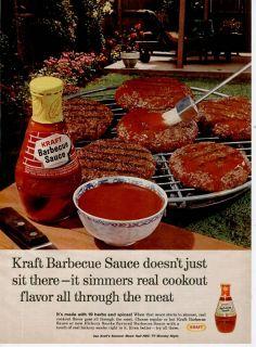 1966 Kraft Barbecue Sauce Hamburgers Grill Print Ad