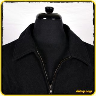 Steve Barrys Wool Jacket Coat Mens Size XL Black Zippered