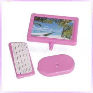 monitor +Stand +keyboard Set for Barbie doll Dollhouse Miniature Pink