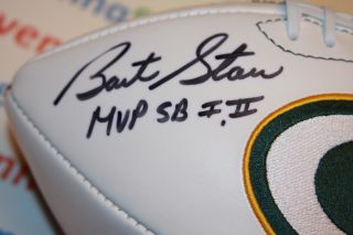 Bart Starr Autographed Green Bay Packers Logo Football Super Bowl
