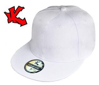 New Plain White Flat Peak Fitted Baseball Cap 7 1 2