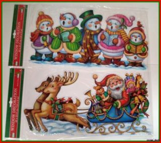 Christmas Die Cut Window Cling Holiday Lot of 4 682