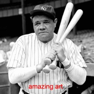 Hand Painted Painting Great Baseball Player Babe Ruth