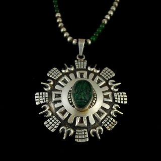 Early Los Ballesteros Mexican Sterling Silver Onyx Pendant Necklace