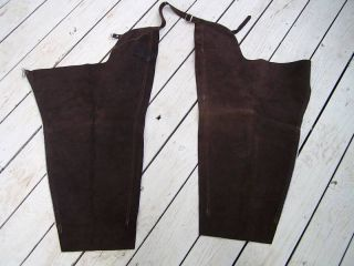 New Barnstable Dark Brown Suede Leather Cowhide Horse Riding Chaps