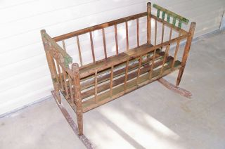 Antique 1890s Baby Rocking Cradle Vintage Old Wooden Furniture
