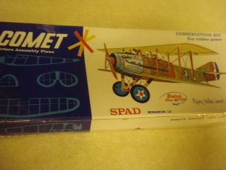 Comet Spad Balsa Wood Scale Model Airplane Kit Factory SEALED
