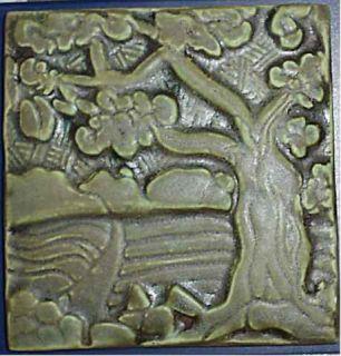Santa Barbara Handmade Adaptation of Batchelder Oak Design Ceramic Art
