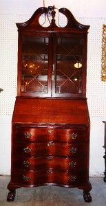 Restored Mahogany Clawfoot Secretary Desk with Drawer and Bookcase