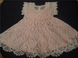 Handmade Crocheted Pineapple Baby Girl Heirloom Christening Dress