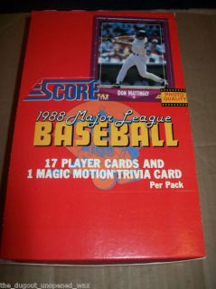 1988 Score Baseball Unopened Wax Box of 36 Packs L K