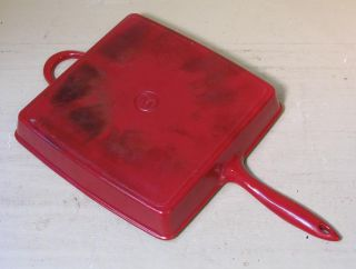 Mario Batali Red Enamel Square Cast Iron Skillet / Panini Press
