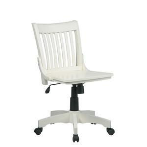 Deluxe Armless Wood Bankers Chair with Wood Seat