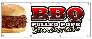36x96 BBQ Pulled Pork Sandwich Banner Sign Barbque BBQ Signs Slo