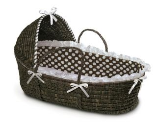 Espresso Baby Infant Moses Basket Hood Brown Polka Dot